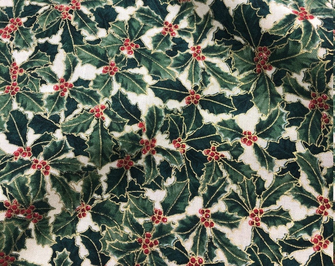 Hoffman Pear Tree Greetings Metallic Christmas Holly Red Cream Fabric L7351 BTY