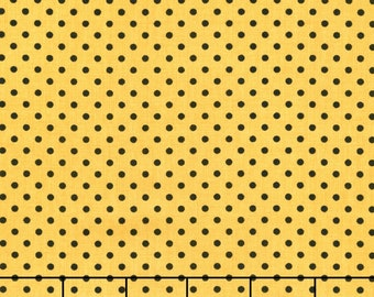 Wilmington Prints Follow the Sun Sunflower Yellow Black Polka Dot Fabric BTY