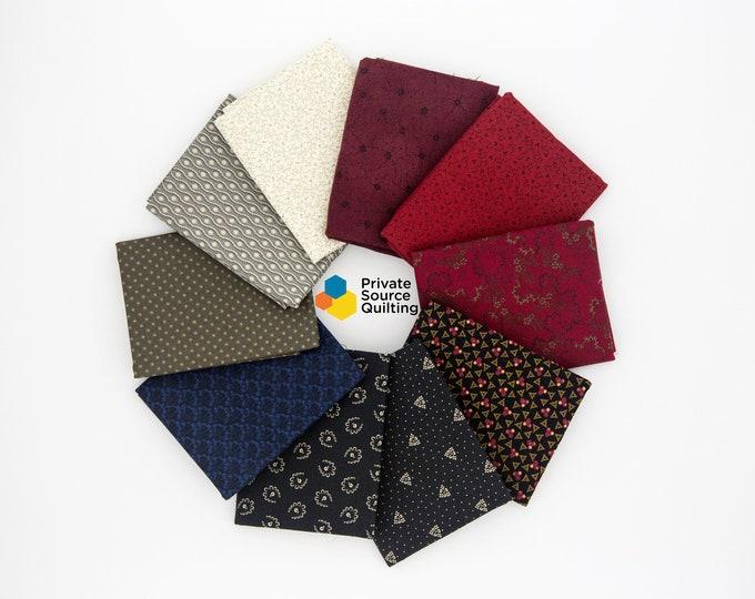 Marcus Windham Civil War Reproduction Red Grey Gray Blue Black Cream Quilt Fabric 10 Fat Quarter Bundle