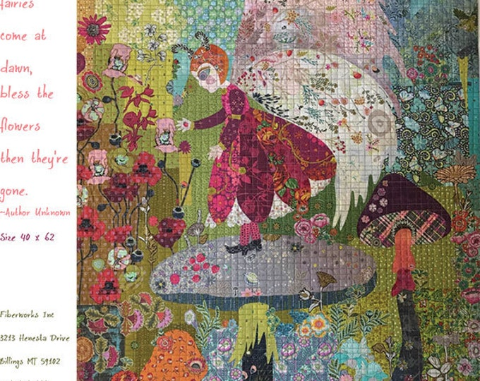 Fiberworks Laura Heine Collage Meadow Forest Mushroom Fairy Quilt Pattern 40 x 62