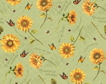 Wilmington Prints Follow the Sun Sunflower Butterfly Script Bees Green Sage Fabric BTY