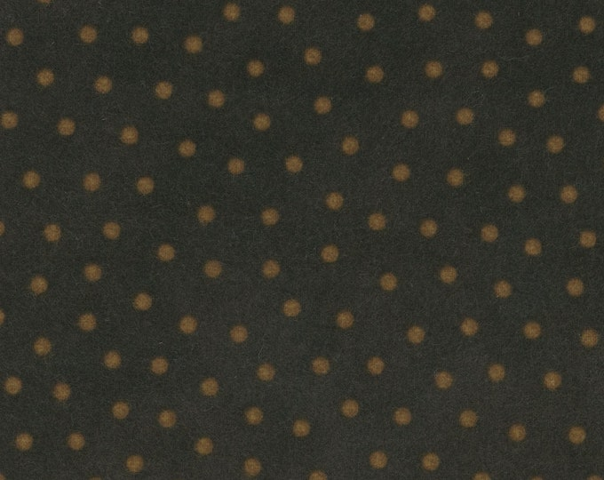 Maywood Woolies Brown with Tan Yellow Polka Dot FLANNEL 18506-JA Fabric BTY