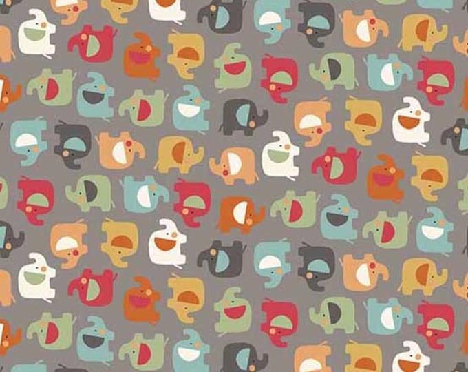 Andover Elli Ellie the Elephant Gray Grey Mini Elephant Teal Pink Orange Fabric 2069-V BTY