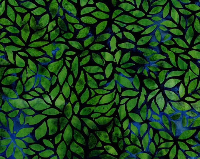 Flaurie and Finch Blossom Batik Valley Emerald Green Blue Fabric 3135-003 BTHY