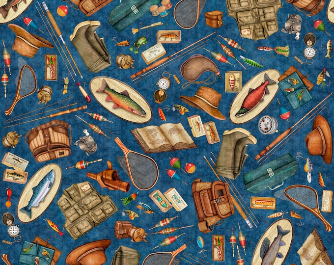 Quilting Treasures Fresh Catch Dan Morris Fishing Equipment Fisherman Motif Blue Fabric 27204-N BTY