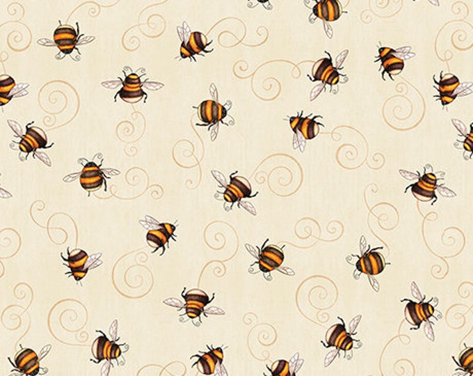 Quilting Treasures A Gardening We Grow Cream Off White Bee Buzz Fabric BTY 26501-E