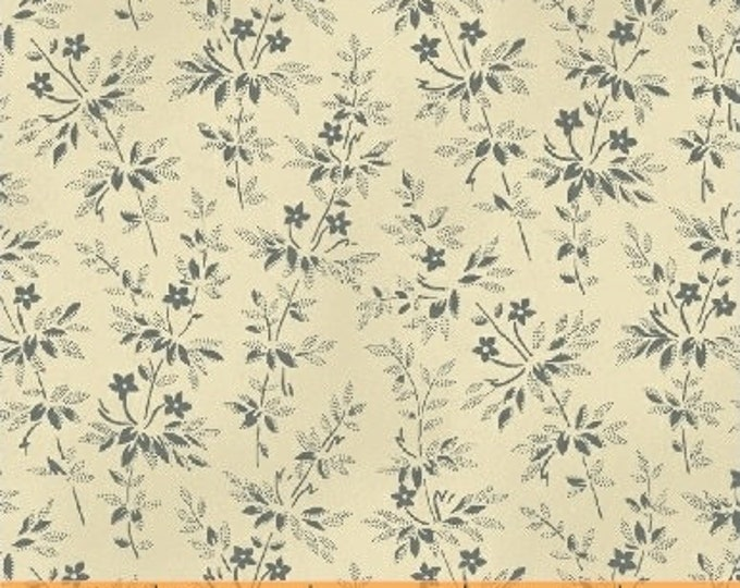 Windham Larisa Mary Koval Cream Beige Blue Floral Civil War Reproduction Fabric 50073-1 BTY