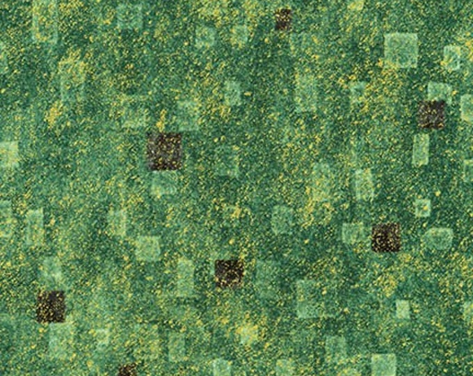Robert Kaufman Gustav Klimt Green Gold Black Cotton Gilded Square Fabric BTY 17181-7