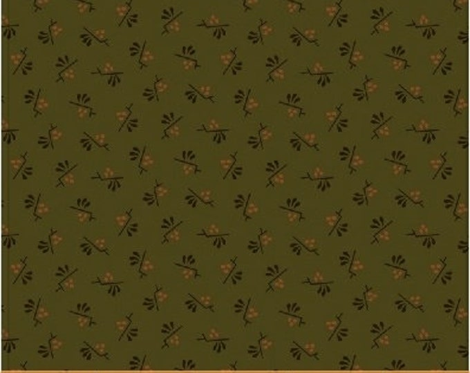 Windham Kindred Spirits 2 Green with Gold Black Accents Civil War Reproduction 40214A-4 Fabric BTHY