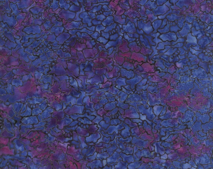 RJR Jinny Beyer Malam Batik Blue Purple Grey Mottled Batik 1766-001 Fabric BTY
