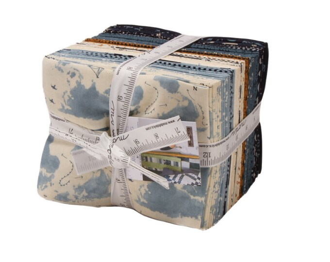 Moda Weather Permitting Janet Clare Beige White Tan Navy Blue Cream Map 30 Fat Quarter Fabric FQ Bundle