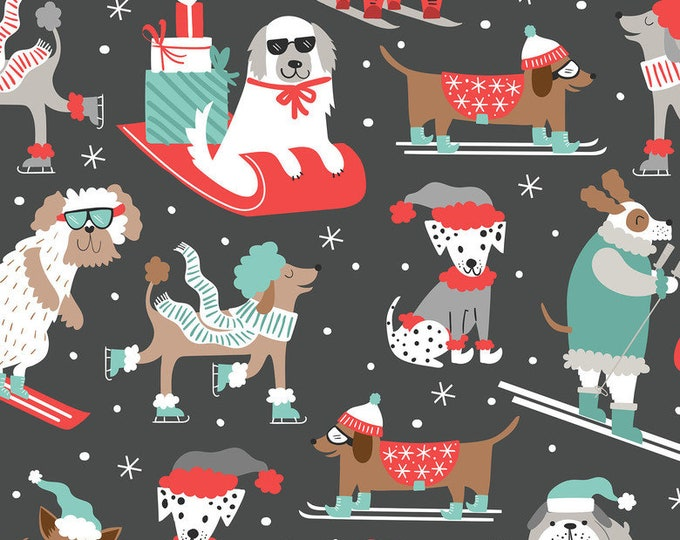 Blend Snowlandia Maude Ashbury Winter Furries Dog Puppy Gray Snow Winter Fabric BTY