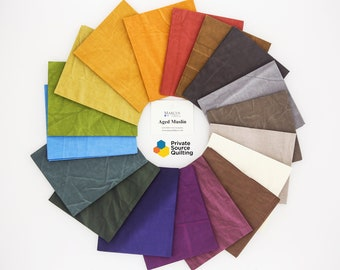 Marcus Fabrics Aged Muslin Rustic Brights Worn Fabric Yellow Green Purple Red 18 Fat Quarters FQ