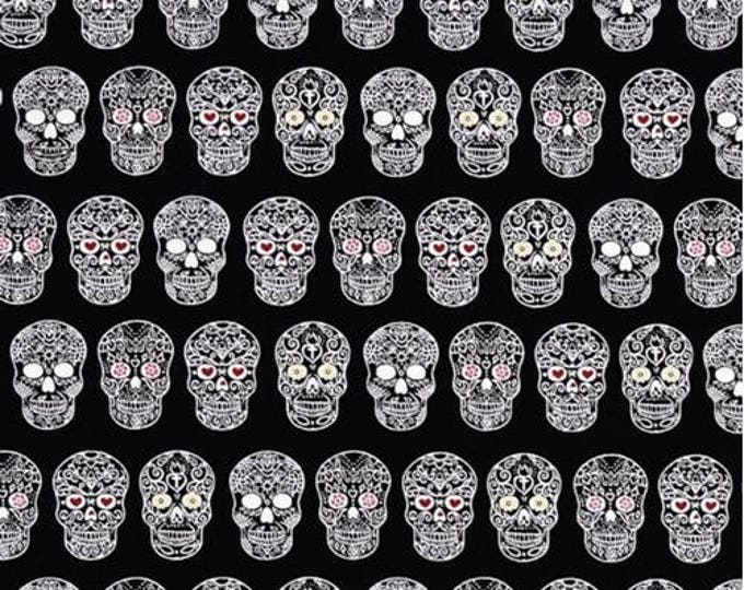 QT Fabrics Ink and Arrow Sweet Rebellion Sugar Skulls Skull Black 25766-J BTHY