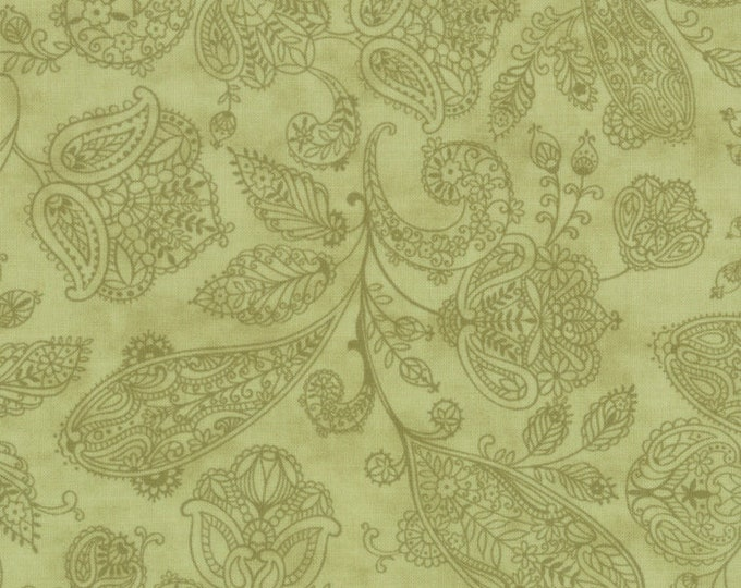 Moda Snowfall Prints Minick and Simpson Green Tonal Floral Paisley Holiday Fabric 14833-23 BTY