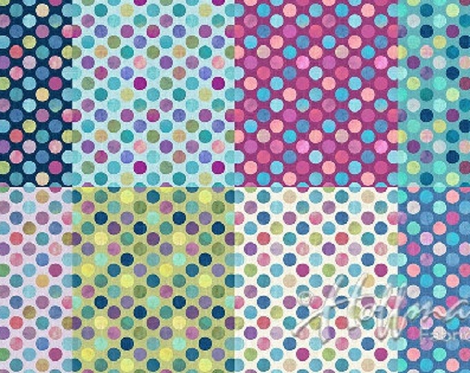Hoffman All A Twitter Sweetpea Kari Carr Polka Dot Fat Quarter Teal Pink Purple P4393-447 Fabric BTY