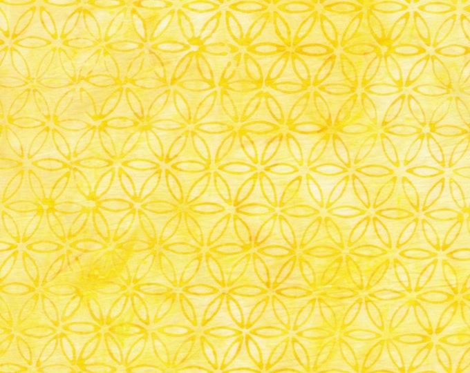 Anthology Art Inspired Jacqueline de Jonge Batik Rainbow with Stamp Lemon Yellow Floral Fabric 16301 BTY