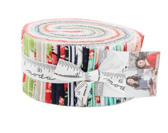 Moda Bonnie and Camille Smitten Floral Pink Blue Jelly Roll 2.5 Fabric Strips