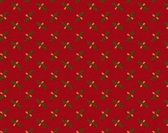Marcus Old Sturbridge Village Civil War Christmas Red Small Floral Background Fabric 3157-0111 BTY