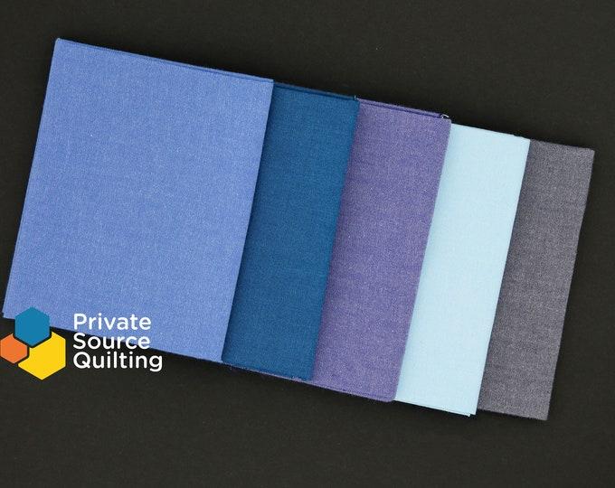 Windham Artisan Cotton Woven Light Blue Navy Teal Fabric 5 Fat Quarters FQ