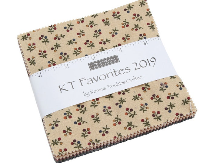 Moda Kansas Troubles Quilters Favorites 2019 Red Green Blue Tan Fabric Charm Square