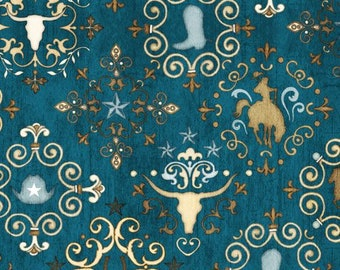 Quilting Treasures Teal Blue Unbridled Horses Western Medallion Country Horse Fabric BTHY 24694-Q