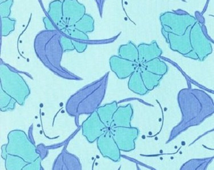 Free Spirit  Olive Rose Fabric Valori Wells -Olive Blue Small roses Cotton 07600-52   BTY