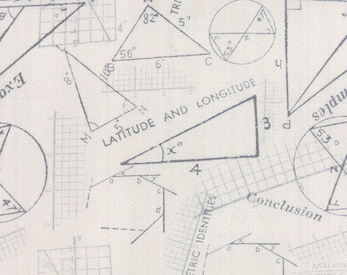 Moda Zen Chic Modern Background Paper Graphite Fog Geometry Math Fabric 1583-16 BTY
