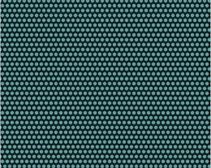 Windham Fabrics Uppercase by Janine Vangool cotton  Perforated in Turquoise and Black background 41820-1 BTY