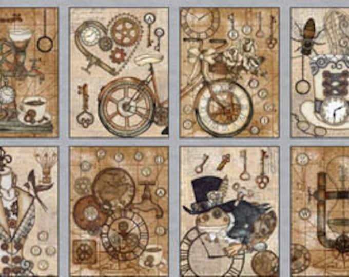 Blank Textiles Fabric Unknown Voyage Black Brown Blocks Clock Keys Hat Steampunk Panel Fabric 9703-30 BTP 18 x 42