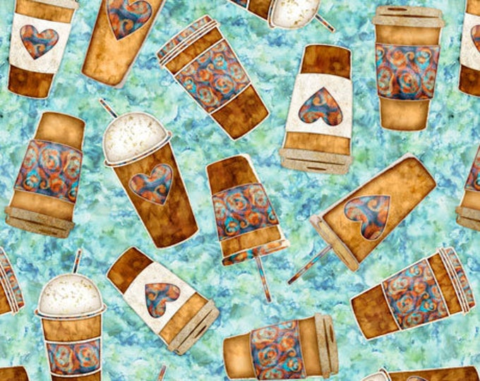 Quilting Treasures Cafe All Day Dan Morris Coffee To Go Cup Drink Teal Blue Aqua Fabric 27075-Q BTY