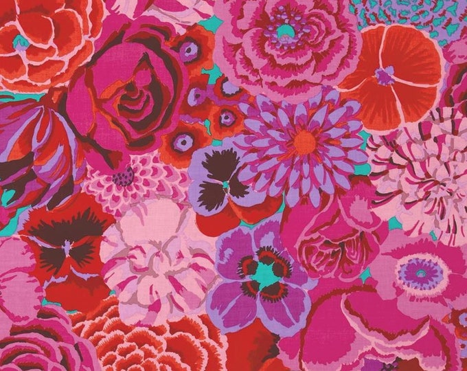NEW Free Spirit Kaffe Fassett Large Bekah Magenta Pink Floral GP69 MAGEN Fabric BTY