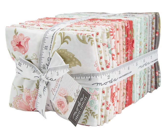 Moda 3 Sisters Porcelain White Gray Pink Red Shabby Chic Floral 40 Fat Quarter Fabric Bundle