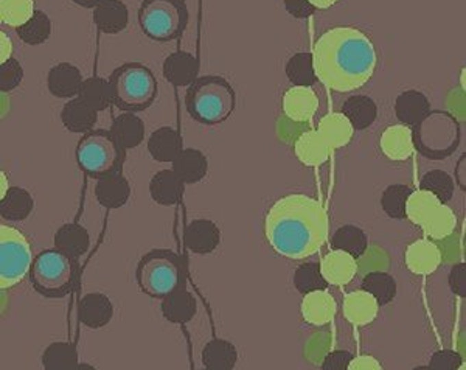 Benartex fabric Brown and Green  Circle Stripe on a Brown   background by  Diane Nagel  Cotton 04472-72 BTY