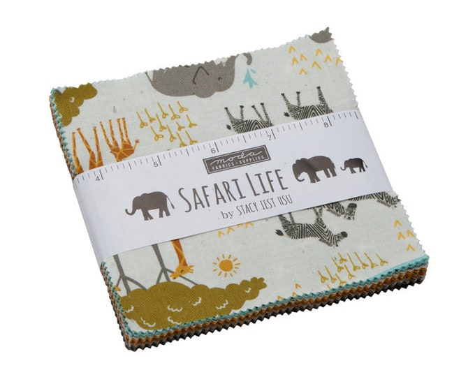 Moda Safari Life Stacy Iest Hsu Jungle Lion Elephant Yellow Blue Gray Children Charm 5 x 5 Squares Fabric