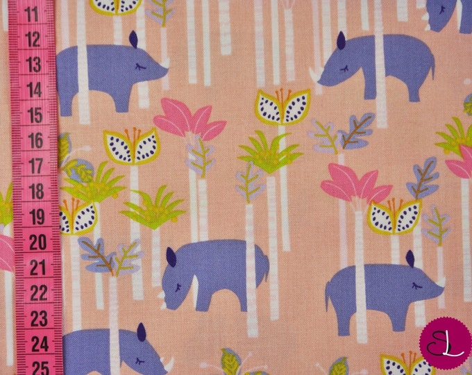 Blend Fabrics Sundaland Jungle Katy Tanis Rhino Pink Purple Trees Fabric BTHY