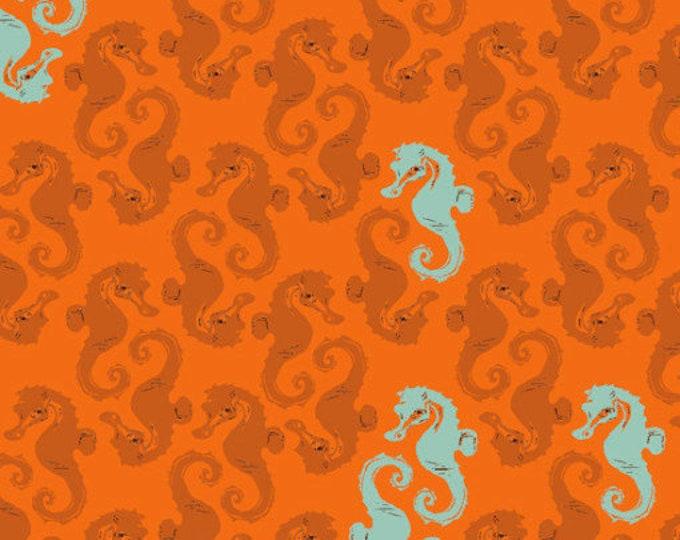 Windham Mendocino Heather Ross Orange Blue Seahorse on Orange Fabric BTHY