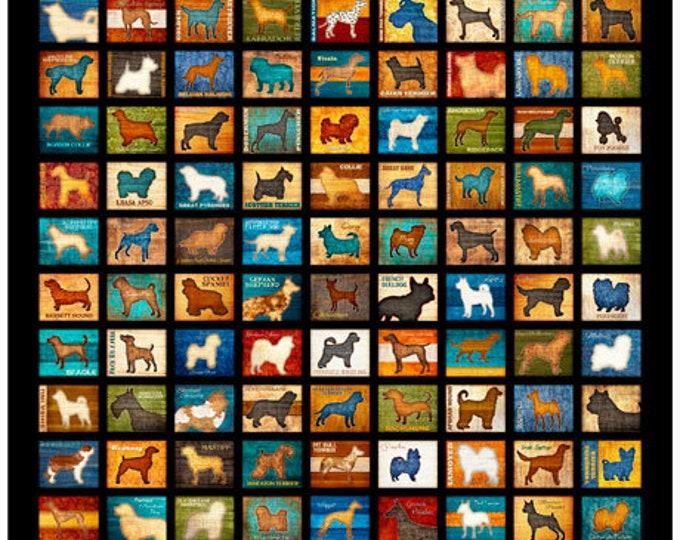 Must Love Dogs Dog Dan Morris QT Fabrics Black Teal Beige 1 Yard Panel 26935-J