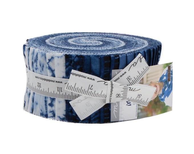 Moda Machi Debbie Maddy Shibori Style Indigo Navy Blue White Jelly Roll 2.5 Fabric Strips