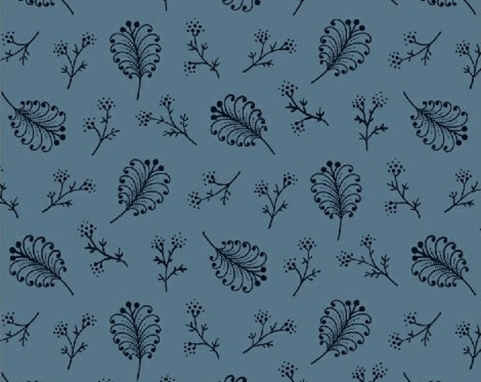 Windham Rhapsody in Blue Blue with Navy Floral Accents Civil War Reproduction  42132-2 Fabric BTY