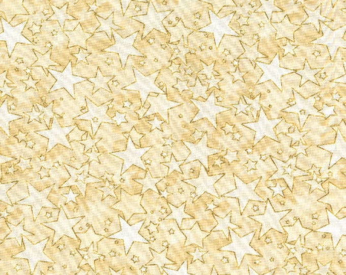 SALE RJR Holiday Accents Cream Gold Star Christmas or Patriotic Fabric 2712-004 BTY