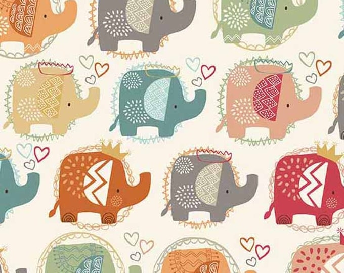 Andover Elli Ellie the Elephant March Crowns Turquoise Teal Pink Orange Fabric 2066-T BTY