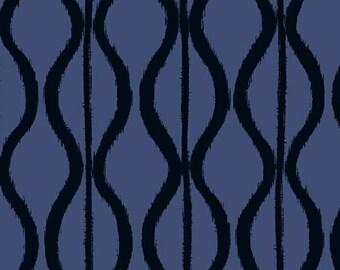 Windham Twilight Navy Blue Black Wave Squiggle 100% Cotton Mud Cloth 41096-2 BTY