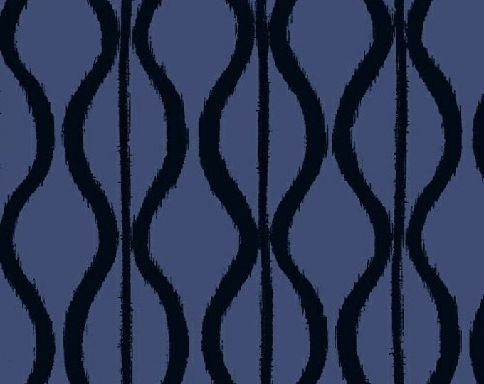 Windham Twilight Navy Blue Black Wave Squiggle 100% Cotton Mud Mudd Cloth 41096-2 BTY