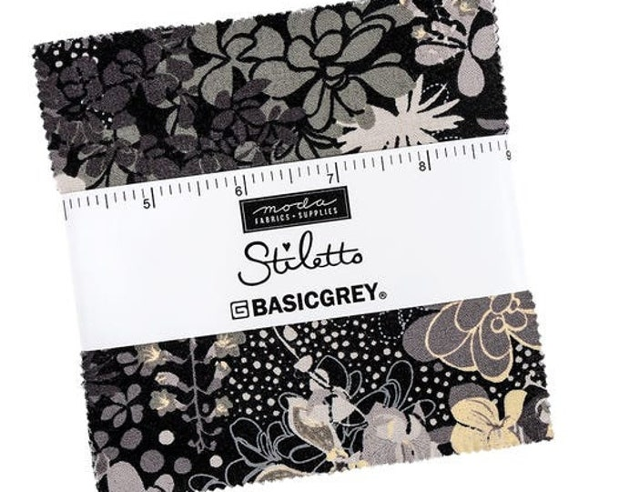 "Moda Stiletto Charm Pack BasicGrey for Moda Fabrics Charm42  5"" Square"