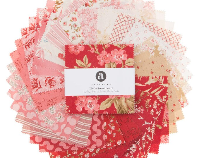 Andover Edyta Sitar Laundry Basket Quilts LBQ Little Sweetheart Pink Red Cream 5 x 5 Inch Charm Squares Fabric