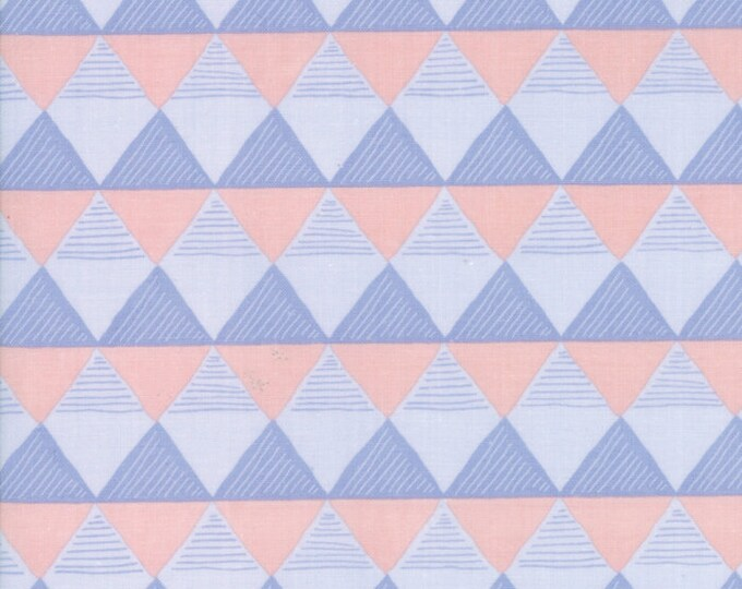 Moda Twilight by One Canoe Two Peach Pink Blue Periwinkle Gray Triangle Fabric 36034-12 BTY