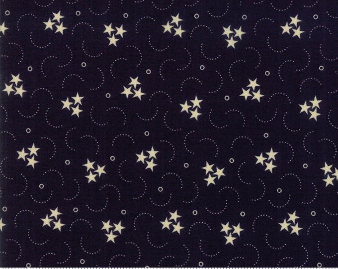 Moda Star and Stripe Gatherings Dark Navy Blue with Cream Stars and Dots Fabric 1261-16 BTY