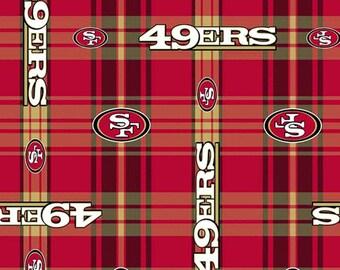 Professional NFL 49er's San Francisco Plaid Football Team FLANNEL Fabric  BTY