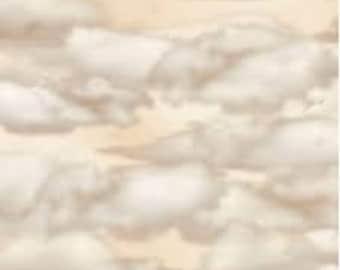 Quilting Treasures Aviator Airplane Aviation Clouds Tan Cream Fabric BTY 24758-E